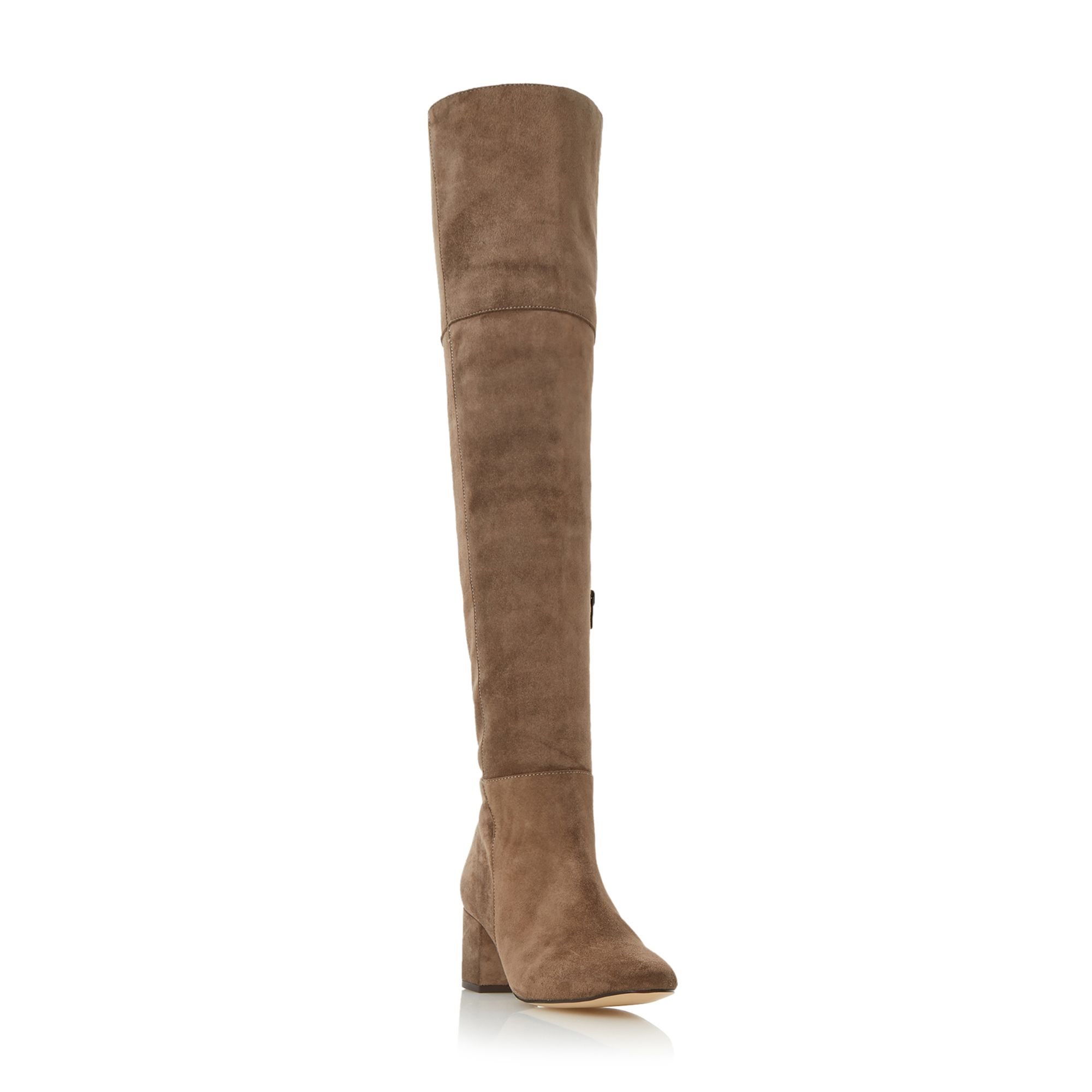 Dune Samba low block over the knee boots, Charcoal