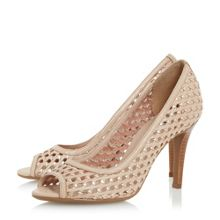 Dune Claudette woven peep toe court shoes