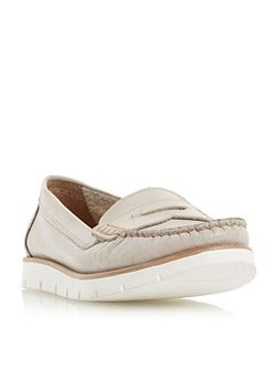 Garden white cleated sole penny loafers