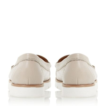 Dune Garden white cleated sole penny loafers