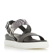 Dune Black Legendd dual strap flatform sandals
