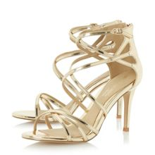 Head Over Heels Minita metallic strap high heel sandals