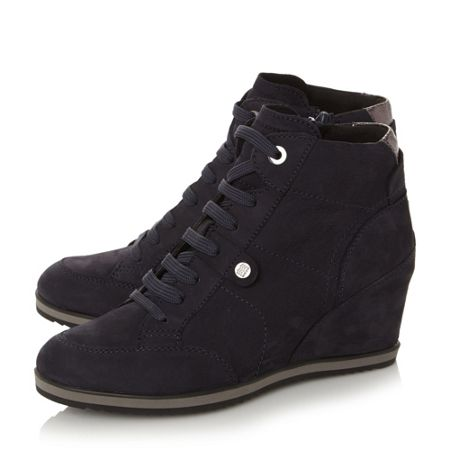 Geox D ilusion lace up sporty wedge shoes