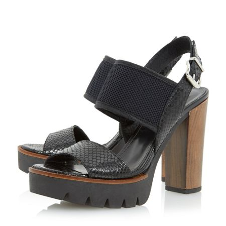Dune Black Jaye cleated platform sandals