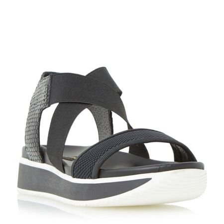 Dune Black Lyrix cross strap flatform sandals