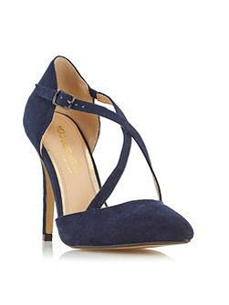 Candice cross strap pointed court shoes