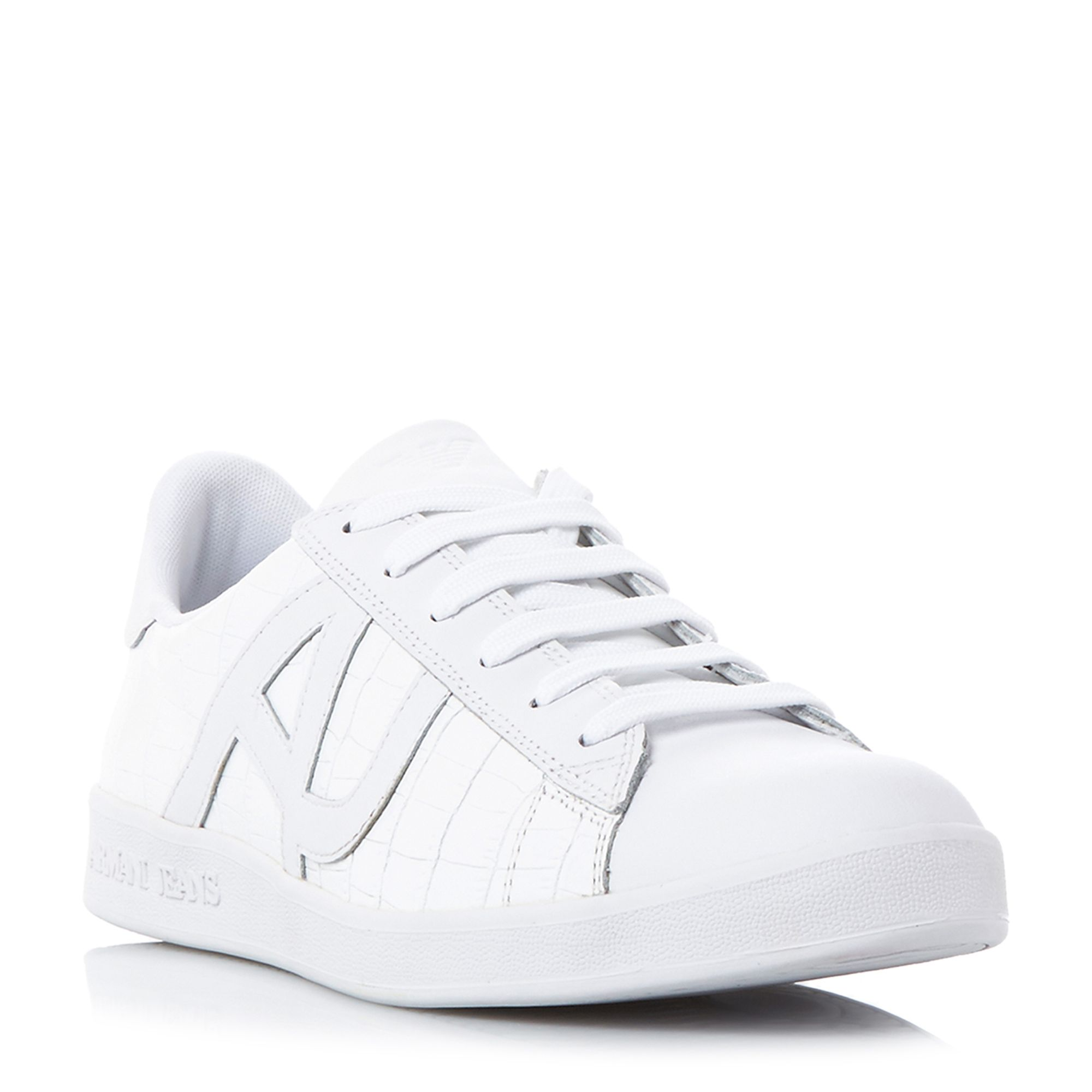 Armani Jeans 0935565 croco embossed trainers White