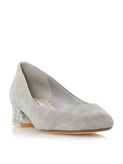Alanah square toe block heel court shoes