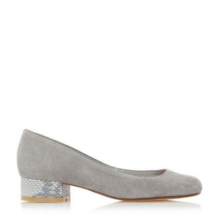 Dune Alanah square toe block heel court shoes