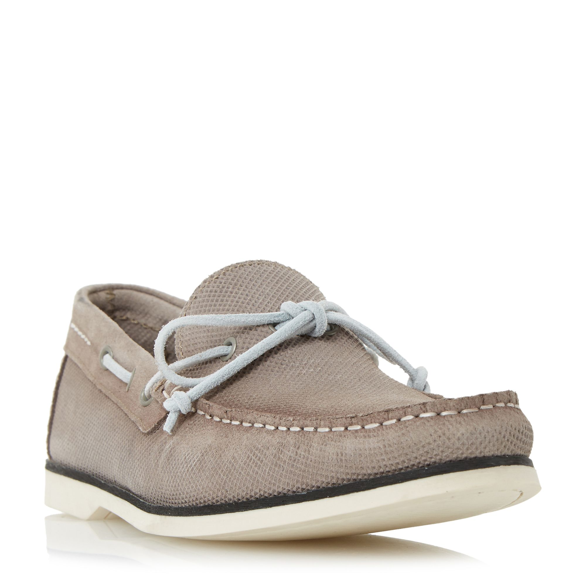 Bertie Bubble textured suede boat shoes, Taupe