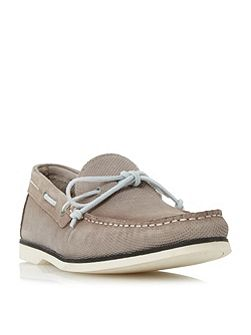 Bubble textured suede boat shoes