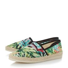 Dune Fiji tropical print espadrille shoes