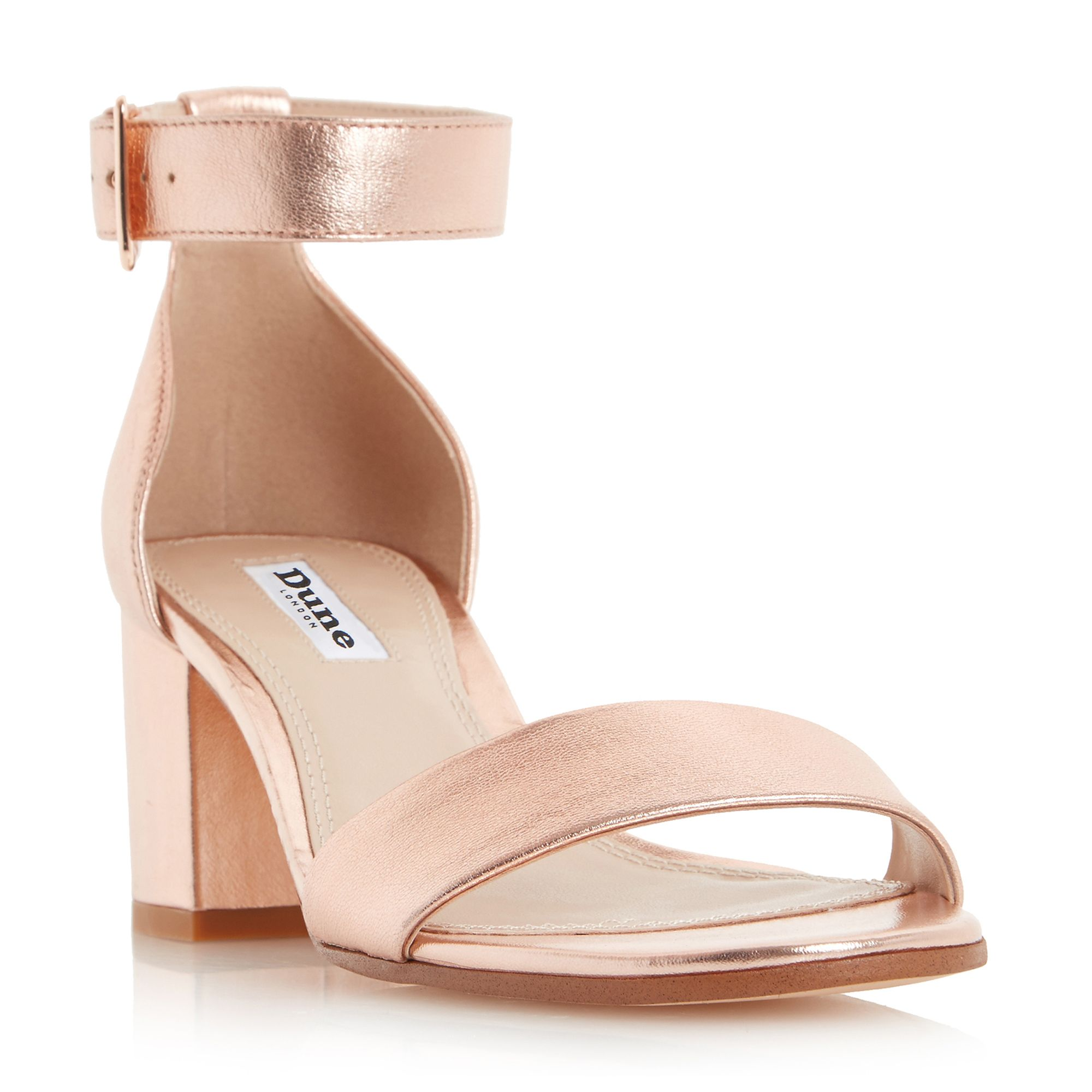 Dune Jaygo two part block heel sandals, Rose Gold