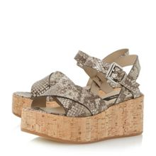 Dune Black Lately cork effect flatform sandals