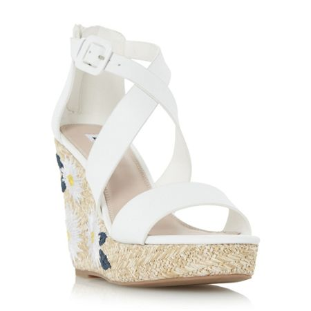 Dune Kesha flower raffia wedge sandals