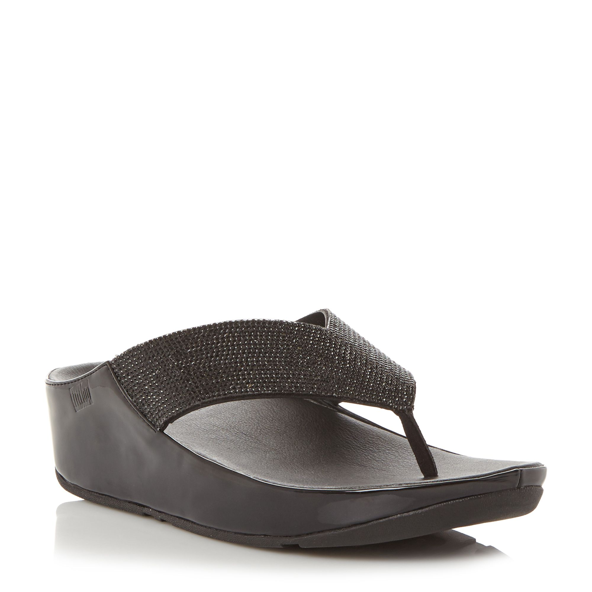 FitFlop Crystall Toepost Sandals, Black