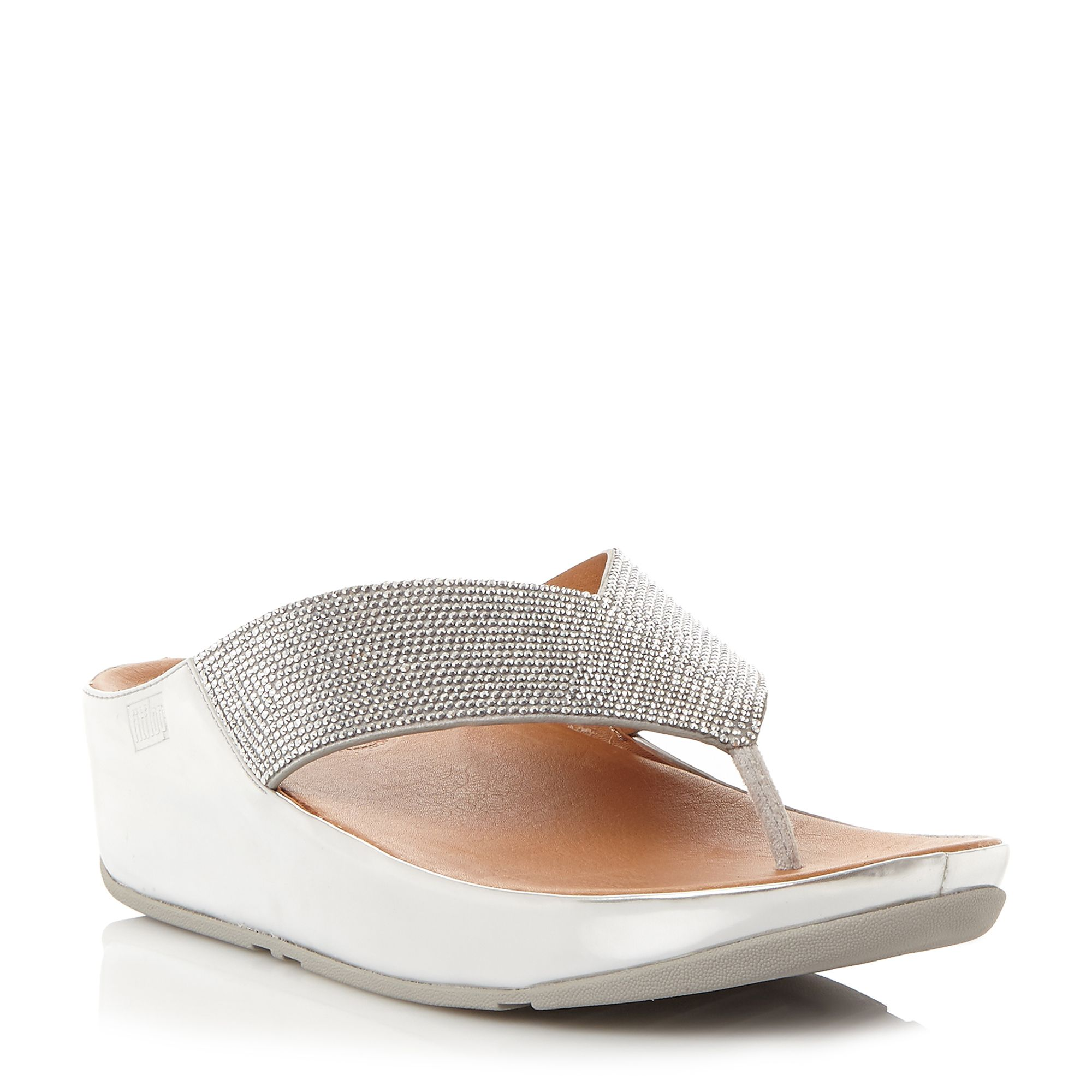 FitFlop Crystall Toepost Sandals, Silver