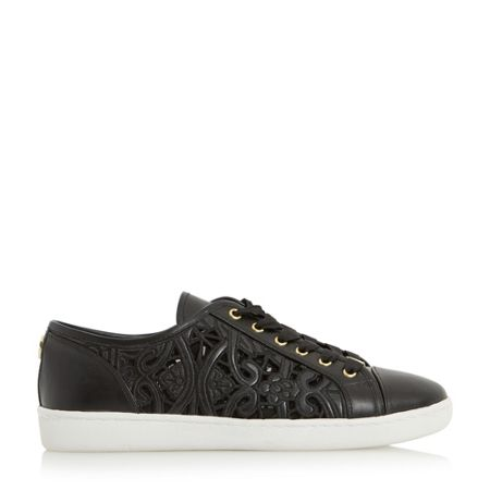 Dune Elley laser cut lace up trainers