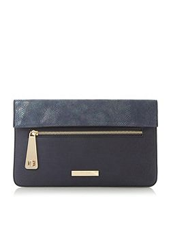 Evie foldover flap zip detail clutch bag