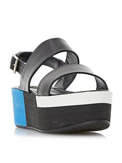Lynx colour block flatform sandals
