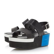 Dune Black Lynx colour block flatform sandals