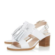 Dune Ingrid tassel trim block heel sandals