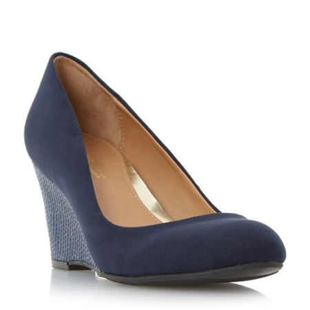 Head Over Heels Angie snake wedge court shoes