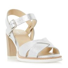 Dune Judo white sole mid heel sandals