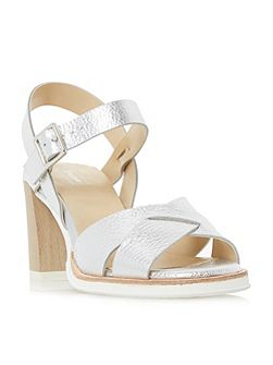 Judo white sole mid heel sandals