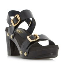 Dune Icon double buckle mid heel sandals