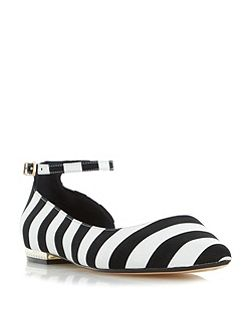 Hustle mono stripe flat shoes