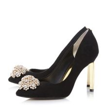 Dune Peetch brooch trim court shoes