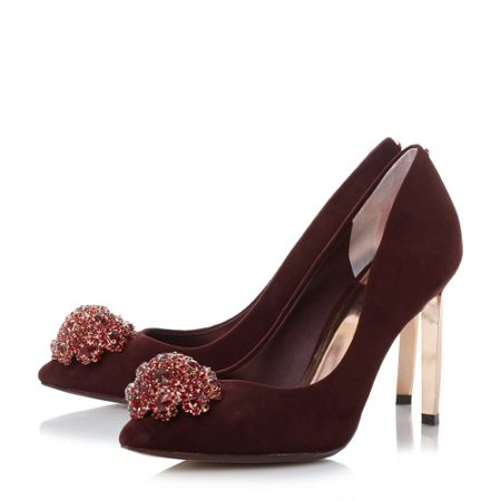 Ted Baker Peetch brooch trim court shoes