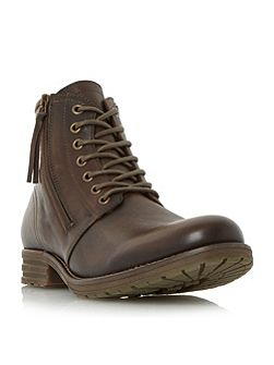 Cargo double zip round toe boots