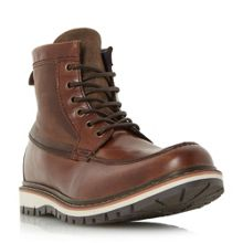 Dune Conker apron stitch detail lace up boots