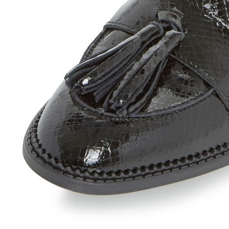 Dune Glossie patent tassel loafer shoes