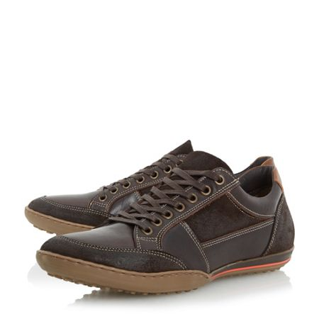 Dune Titan mixed leather lace up trainers
