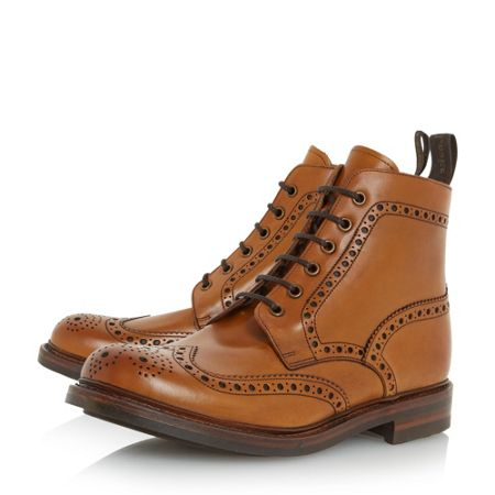 Loake Bedale leather lace up brogue boots
