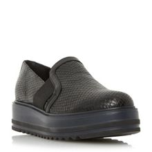 Dune Black Graft perforated flatform shoes