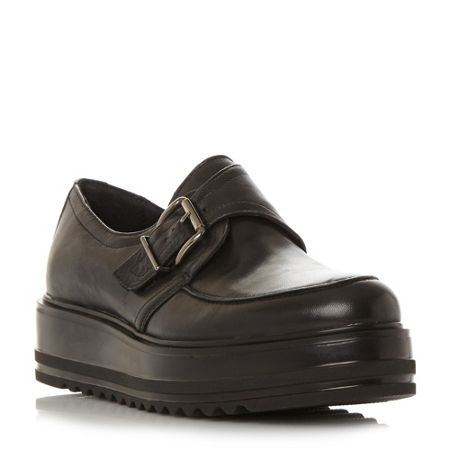 Dune Black Germaine buckle flatform loafers