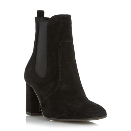 Dune Black Parade square toe mid heel chelsea boots
