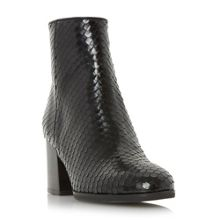 Dune Black Pitche reptile effect ankle boots