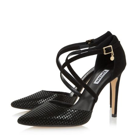 Dune Connie cross strap two part court shoes