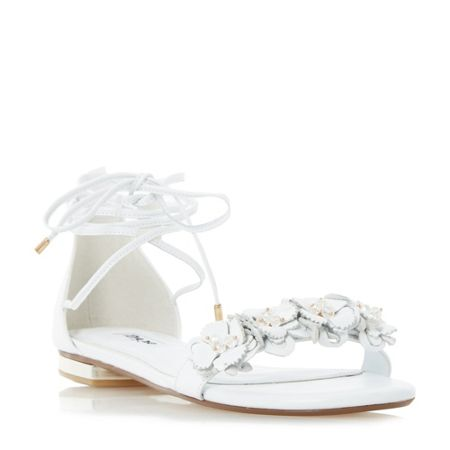 Dune Nigella flower trim sandals