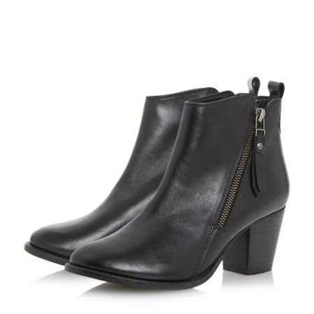 Dune Pontoon stacked heel ankle boots