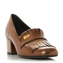 Dune Black Argyll fringe block heel court shoes