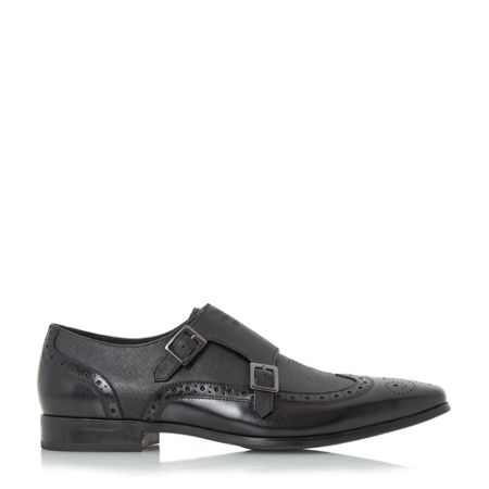 Dune Relic buckle saffiano leather monk shoe