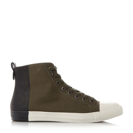 Calvin Klein Arnaud dipped effect hi-top trainers