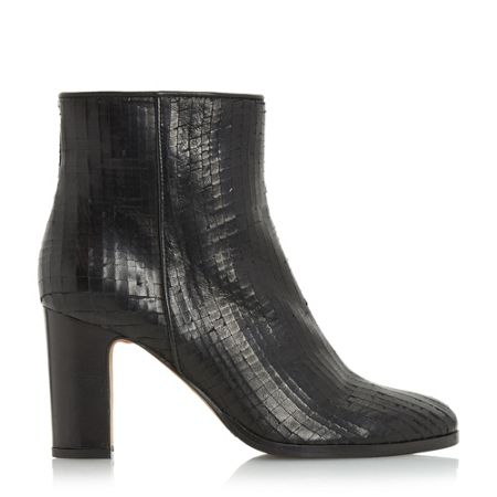 Dune Black Ozzy textured heeled ankle boots