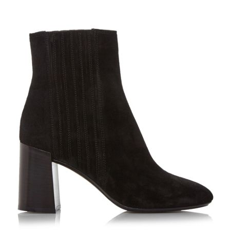 Dune Black Packmore block heel suede ankle boots